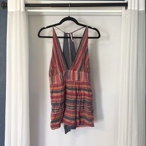 Free People Deep V-Neck Romper 0 Striped Red Blue.